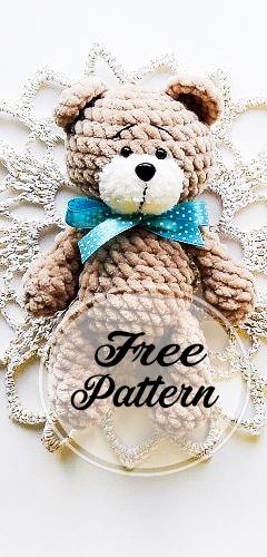 Tiny teddy bear crochet pattern | Amiguroom Toys | 500x240