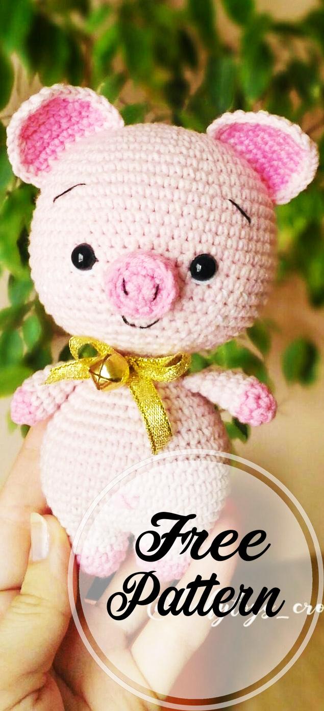 Crochet mini pig amigurumi plush pattern | Amiguroom Toys | 1393x635